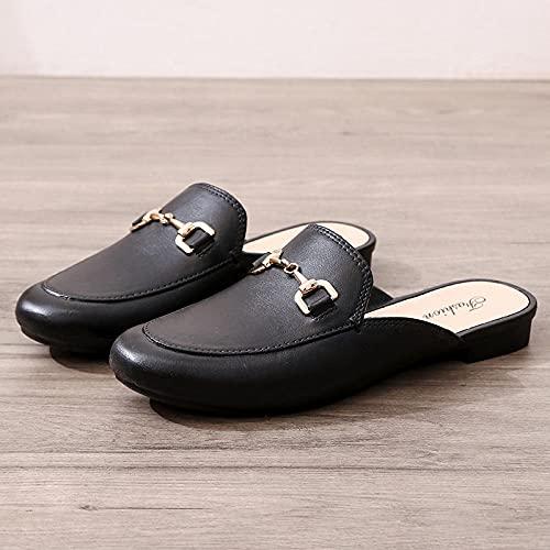 XUNHOU Sandalias Ligeras de Confort en el talón,Moda de Punta, Zapatillas convenientes, Use Sandalias Antideslizantes-Negro_40 EU,Zapatillas de baño Planas de Verano