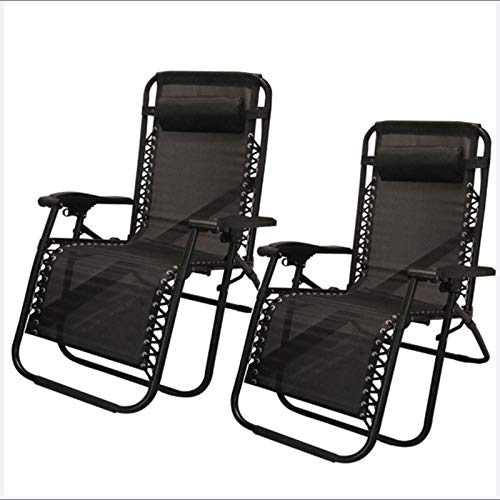 QLGRXWL Set of 2 Premium Heavy Duty Gravity Chair - Outdoor Folding & Reclining Sun Lounger with Head Pillow - Made from Steel Frame for Patio, Conservatory or Deck Chair