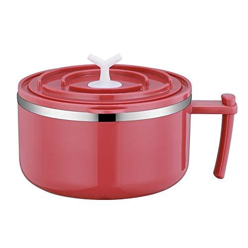 FEIHAIYANY FH Fiambreras de gran capacidad con aislamiento de doble capa, cuenco de acero inoxidable con tapa, lonchera, vajilla para el hogar, almacenamiento de cocina (color rojo)