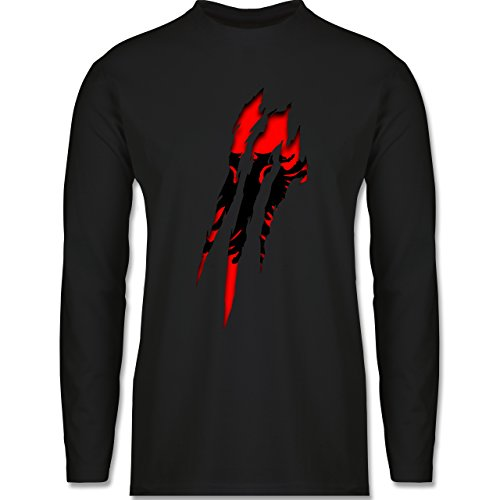 Shirtracer Länder - Albanien Krallenspuren - S - Schwarz albanien - BCTU005 - Herren Langarmshirt