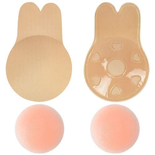 UMIPUBO Copricapezzoli Coperture Push Up Coprivaso Capezzolo Silicone Reggiseno Coppe Adesive Senza Spalline Reggiseni Adesivi Invisibile Bra Nipple Pasties Sollevamento Seno (Pelle, C/D (12CM))