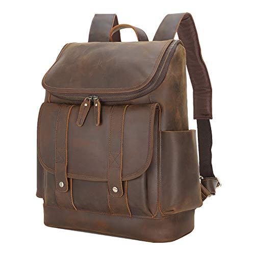 Polare Rustic Full Grain Leather 15.6' Laptop Backpack Travel Bag Schoolbag Adventure Bag with YKK Metal Zippers