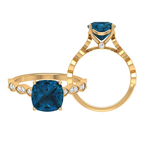 Anillo de corte de cojín solitario, anillo marquesa de oro macizo, piedras preciosas de 2,77 ct, D-VSSI moissanite 8,50 mm, anillo de topacio azul Londres, 14K Oro amarillo, Size:EU 48
