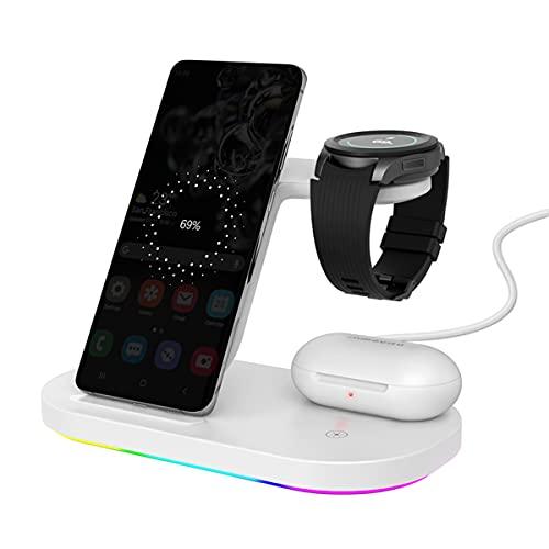 3 en 1 Soporte de Cargador inalámbrico, 15W Fast Wireless Farging Stand Dock Compatible con AirPods Apple Watch para iPhone 8/9/10/12/12,Blanco