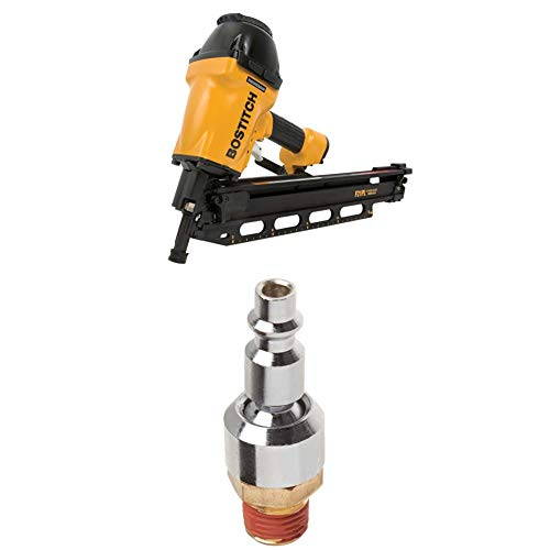 BOSTITCH F21PL Round Head 1-1/2-Inch to 3-1/2-Inch Framing Nailer with Positive Placement Tip and Magnesium Housing with BTFP72333 Industrial 1/4-Inch Series Swivel Plug with 1/4-Inch NPT Male Thread