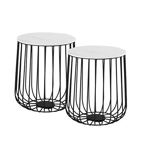 IDIMEX Lot de 2 Tables d'appoint ERRANO Tables à café Tables Basses Rondes Bouts de canapé Design Vintage Industriel, Rangement Panier en métal avec Plateau Amovible en MDF décor marbre Blanc
