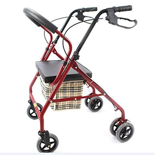 LXYSB Folding Hilfs Aged Walker Carbon-Stahlrahmen mit Brems Freizeit Walker nehmen Sechs-Rad-Hilfs Scooter für senioren Reha-Training,Rot