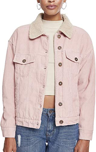 Urban Classics Ladies Sherpa Cordury Jacket Giacca in Jeans, Rosa (Rose/Beige 01469), S Donna