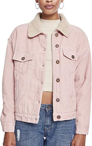 Urban Classics Damen Ladies Oversize Sherpa Corduroy Jacket Jacke, Mehrfarbig (Rose/Beige 01469), Medium (Herstellergröße: M)