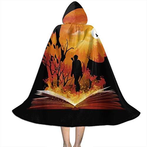 KUKHKU Tribute von Panem Katniss Silhouette Sonnenuntergang Unisex Kinder Kapuzenumhang Umhang Umhang Umhang Cape Halloween Party Dekoration Rolle Cosplay Kostüme Outwear