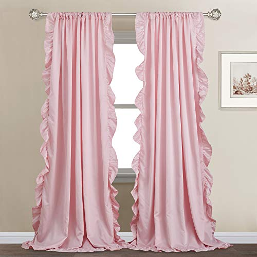 StangH Kids Curtains with Ruffle - French Romantic Style Ruffled Blush Curtains Soft Smooth Faux Silk Window Curtain Drapes for Daughters Bedroom/Nursery Decor, Blush Pink, W52 x L95, 2 Panels