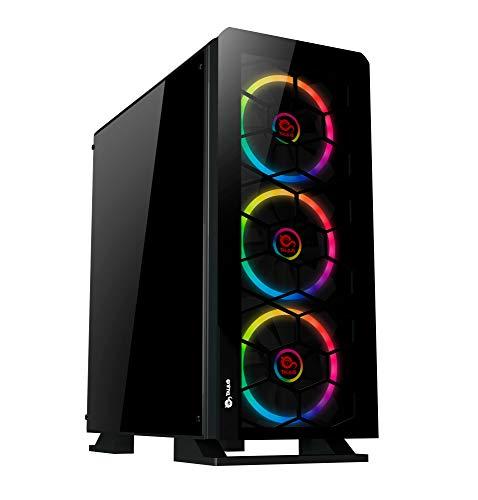 Talius Caja ATX Gaming Gargola Ver.2021 led Spectrum Doble Ring RGB - Frontal y Lateral de Cristal Templado - USB 3.0-2X USB 2.0 - Sin Fuente - Negra…