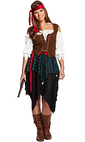 Disfraz unisex, diseño de pirata caribeño