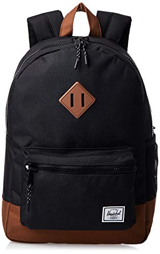Herschel Supply Co. Kids' Heritage Youth Children's Backpack, Black/Saddle Brown, One size