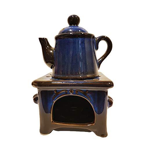 G. Wurm Vintage Duftlampe Küchenhexe von Oma mit Kessel Herd in blau Vintage Deko