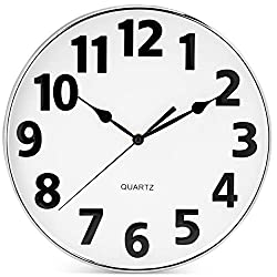 Bernhard Products Large Wall Clock, 12 Inch Silent Non Ticking Battery Operated Quality Quartz for Home/Kitchen/Office/School Classroom Silver Frame Black 3D Numbers, Sweep Movement Modern Clocks