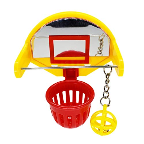 WE-WHLL Funny Parrot Birds Toys Mini Basketball Hoop Props Parakeet Bell Ball Chew Toy Pet Supplies