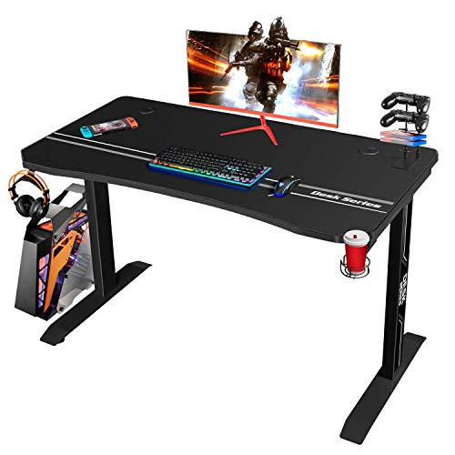 Furmax 44 Inch Gaming T-Shaped PC Computer Table, Home Office Desk Carbon Fibre Surface Workstation with Free Full Coverage Mouse Pad, Cup Holder and Headphone Hook, 43inch, Black
