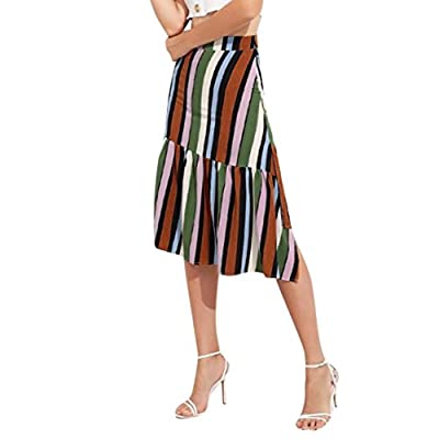 H+K+L Fashion Women Ladies Girls Casual Striped Printing Irregular Mid-Calf Asymmetrical Skirt Dress Pleated