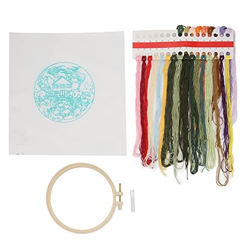 Tnfeeon Kits De Bordado Clásico Tridimensional Simple De Bordado Impreso para Decoración del Hogar De Bordado DIY(Jardín de Verano)