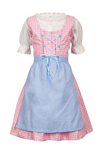 MS-Trachten MS-Trachten zartkariertes Kinder Dirndl Set Mädchendirndl 3 teilig (116, rosa)