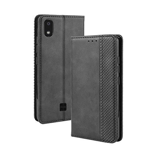Dedux Flip Hülle kompatibel mit LG k20 2019, Retro Leder Brieftasche Abdeckung Magnetverschluss Folio Ständer Kartensteckplätze Handyhülle, Schwarz