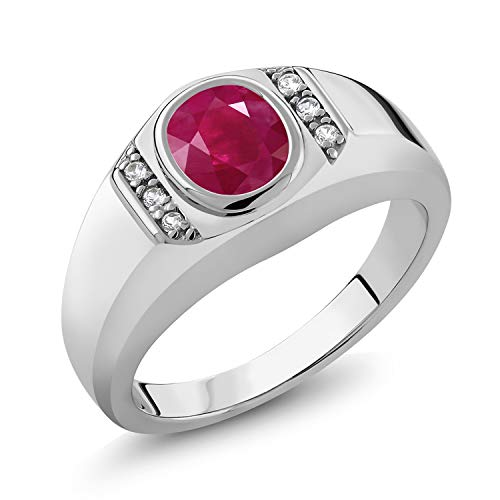 Gem Stone King 1.66 Ct Oval Red Ruby White Created Sapphire 925 Sterling Silver Men's Ring (Size 10)