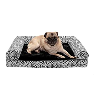 Furhaven Pet Dog Bed – Orthopedic Plush Kilim Southwest Home Decor Traditional Sofa-Style Living Room Couch Pet Bed with Removable Cover for Dogs and Cats, Boulder Gray, Medium