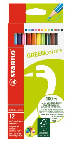 Umweltfreundlicher Buntstift - STABILO GREENcolors - 12er Pack - mit 12 verschiedenen Farben