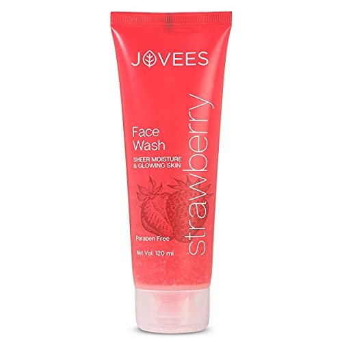 Jovees Herbal Strawberry Face Wash, Deep Moisturising Facewash – Normal to Dry Skin – Paraben & Alcohol Free, 120 ML (Pack of 1)