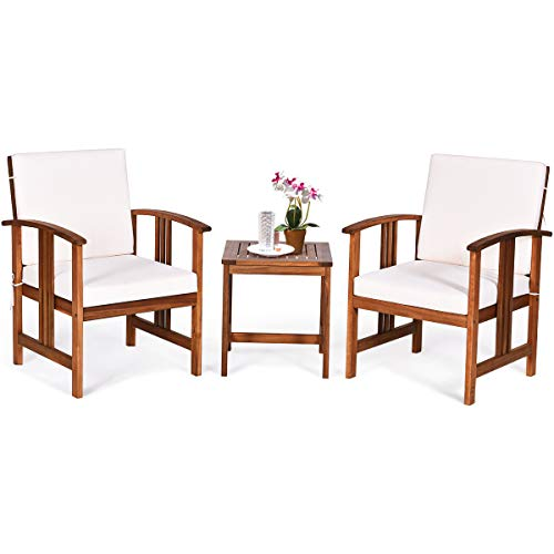 Tangkula 3-Piece Outdoor Acacia Wood Sofa Set w/Cushions, Padded Sectional Conversation Set Furniture Set w/Coffee Table for Garden, Backyard, Poolside, Living Room (White)