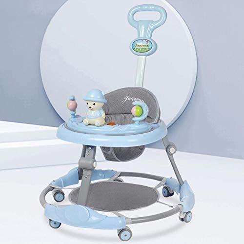 Olz Andador multifunción para bebé con asa de Empuje y Almohadilla para el pie, Andador Ajustable, 6 Ruedas silenciosas,fácil de Plegar, Apto para niños y niñas de 6 a 18 Meses,C Jazz Blue