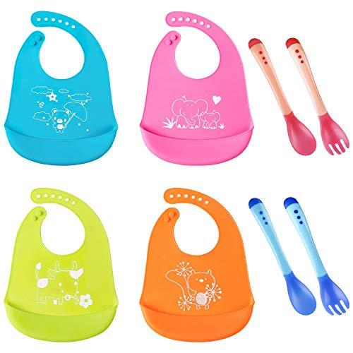 AWIIK- Pack 4 Baberos de bebe Impermeables Baberos de silicona con cucharas y tenedores. Baberos Reutilizables, suaves, Fáciles de Lavar Babero Alimenticio de Silicona para Bebé Niño o Niña