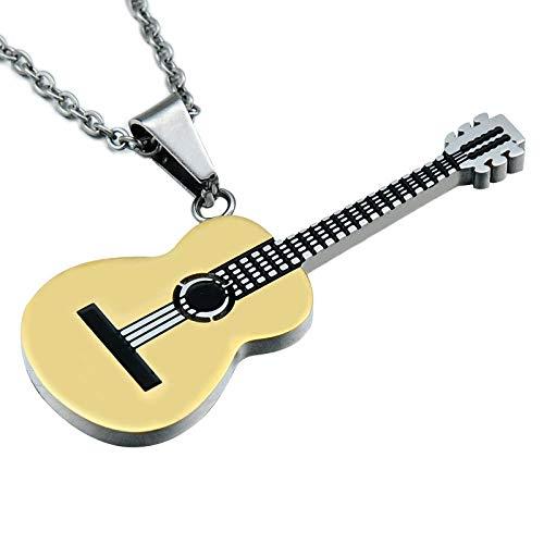 Gotische Halskette Mode Edelstahl Gitarre Vergoldung Anhänger Halskette Für Männer Halsketten Schmuck Geschenk Film Coco Pixar Halskette-Gold