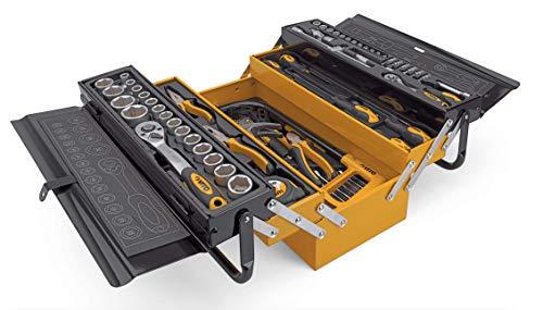 VITO Professional Stahlblech 5-fach aufklappbar Profi Montage Werkzeugkasten - 88-teilig bestückte Klapp-Werkzeugkiste - Metall Klapp Werkzeugkoffer