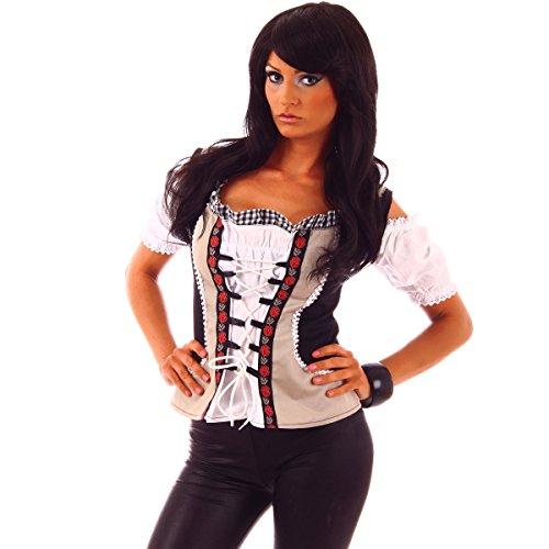 Fashion4Young 20615 Damen Dirndlbluse Bluse Trachtenbluse Dirndl Trachten Oktoberfest Lederhose Trachtenmieder (XS=34, schwarz-Weiss)