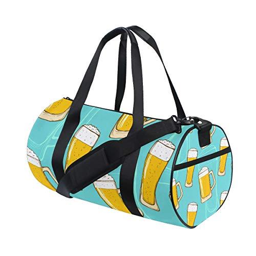 DISLONLY Bier nahtloses Muster, das Handzeichnung bunt bunt wiederholt,Reisegepäcktasche Sport Leichte Segeltuch Fitness Gepäcktrommel Handtasche Abnehmbar