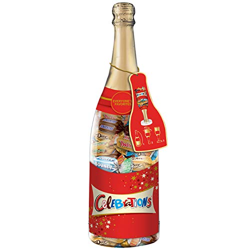 CELEBRATIONS Chocolate Variety Mix Christmas Candy Bars in a 21-Ounce Champagne Bottle