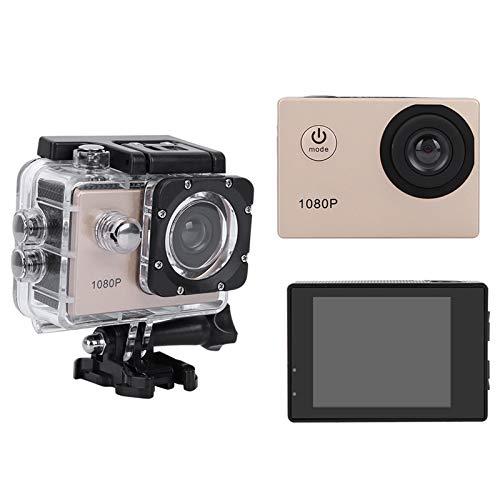 Bindpo Action Camera, 1080P 12MP HD WiFi Telecamera Sportiva Impermeabile 30M Touch Screen da 2 Pollici con Accessori per Vlogging, Immersioni, Sci(d'oro)