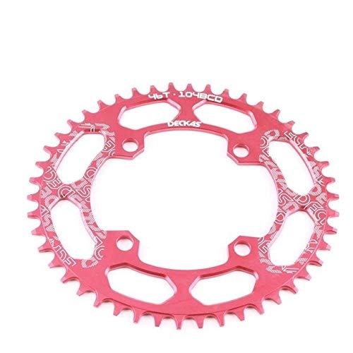 Denkqi 104BCD 40/42 / 44/46/48 / T Ovalada Bicicleta de montaña Chainwheel MTB Bicicleta Juego de bielas de Aluminio Limitar Ancha Chainring BCD 104 Ovalada (Color : 46t Oval Red)