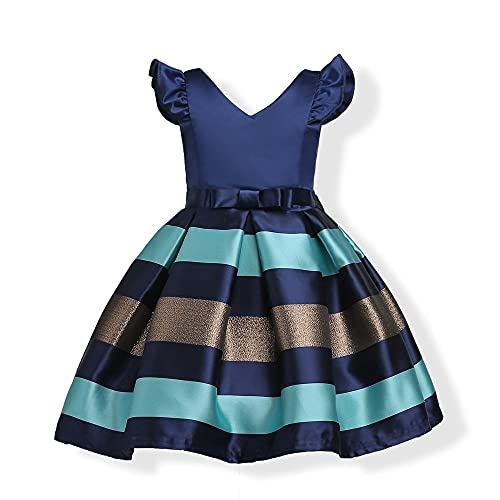 Vestido de Fiesta para Niñas Vestido para Niñas Pequeñas Mangas Voladoras Rayas Horizontales Vestido de Princesa para Niño Grande Vestido de Fiesta de Cumpleaños Vestido de Falda Larga 3-9 Años Vesti
