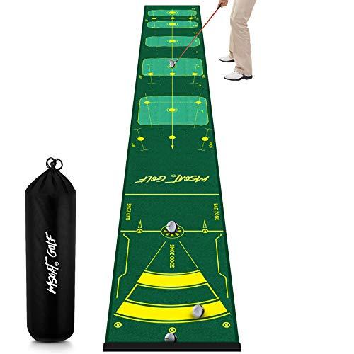 MSOAT Golf Putting Matte Green 0.5 * 4M, Professionelle Multi-Angle Putting-Übungsmatte, Golfübungsgeräte, Tragbare Golf Trainingsmatte für den Innen- und Außenbereich