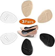 3 Pairs Metatarsal Pads for Women, Professional Reusable Silicone Ball of Foot Cushions, All Day Pain Relief and Comfort, One Size Fits Shoe Inserts, by Mildsun.
