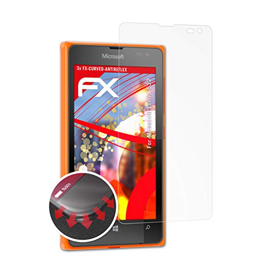 atFolix Schutzfolie kompatibel mit Microsoft Lumia 532 Folie, entspiegelnde & Flexible FX Bildschirmschutzfolie (3X)