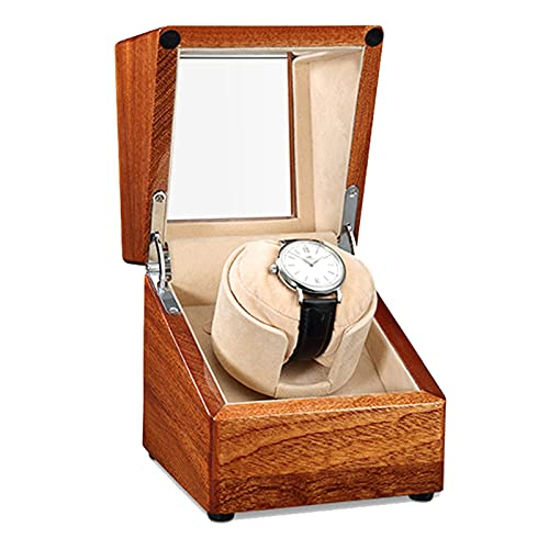 zyy Reloj automático con mecanismo automático y silencioso. 5 modos de rotación. Acabado de piano de madera con acabado tridimensional