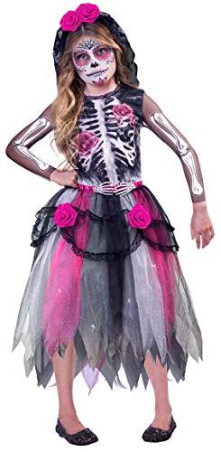 amscan 9903416 - Disfraz infantil del Día de los Muertos, esqueleto, vestido, tocado, fiesta temática, carnaval, Halloween