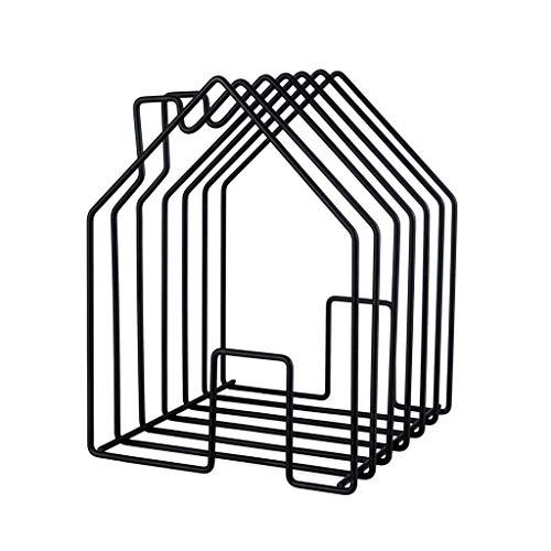 balvi Zeitschriftenständer Home Farbe Schwarz In Form eines Hauses Große Kapazität für Zeitschriften, Kataloge oder Tageszeitungen Stahl