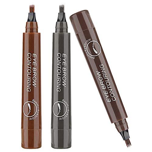 Eyebrow Tattoo Pen, Microblading Augenbrauenstift, 3 Farben Tattoo Augenbrauenstift, Permanent Wischfest Wasserfest Long Lasting Augenbrauenstift mit vier Fork Spitzen - 3Pcs