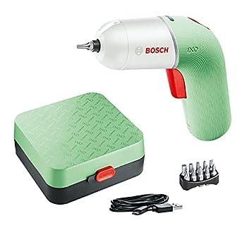 Visseuse sans fil Bosch - IXO (6ème génération, blanc / vert clair, variateur de vitesse, rechargeable avec câble micro USB, dans coffret)