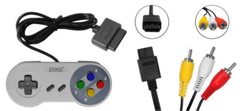 Super Nintendo AV Cinch Kabel + Controller,Gamepad,Joypad für Nintendo SNES